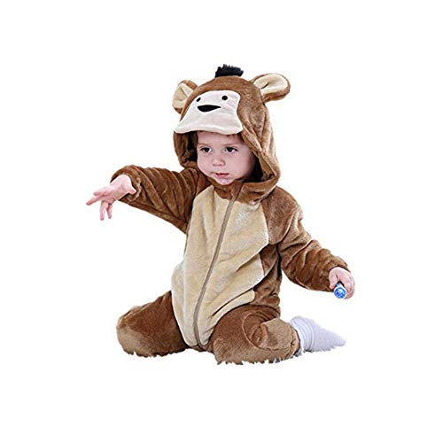 dkDaKanl Unisex-Baby Flannel Romper Animal Onesie Pajamas Jumsuit Outfits Kids (90, Brown Monkey)