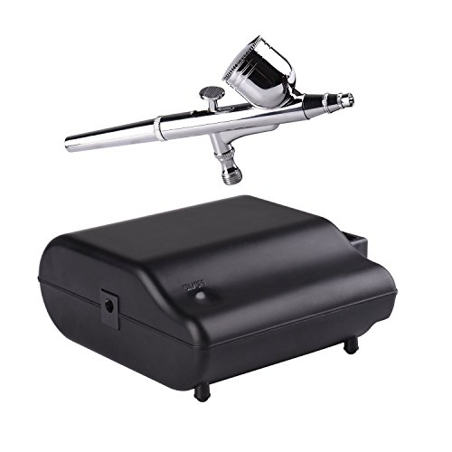Kormest Air Brush with Compressor - Dual Action Gravity Airbrush and Portable Mini Compressor Bundle with Cleaning Kit for Makeup Model Painting Tatto Cake Nailart