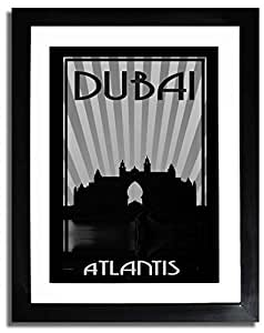 Atlantis - Black And White F07-nm (a4) - Framed