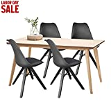 Polorim Modern Dining Chairs Set of 4 Upholstered Side Chairs Wood Leg for Kitchen Office (Black) Review