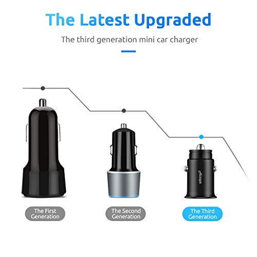Car Charger, Ainope 4.8A Aluminum Alloy Car Charger Adapter Dual USB Port Fast Car Charging Mini Flush Fit Compatible Phone x/8/7/6s, iPad Air 2/Mini 3, Samsung Note9/ Galaxy S9/ S8 Plus/S7 - Black