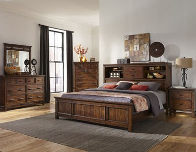 Amazoncom Intercon Wolf Creek Queen Bed W Bookcase Headboard