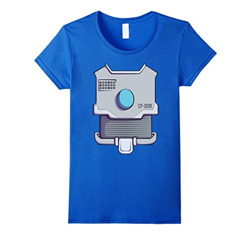 Cyborg Costume Female (Womens Robot Costume T-Shirt for Halloween Robot Cyborg Cosplay Tee Large Royal Blue)