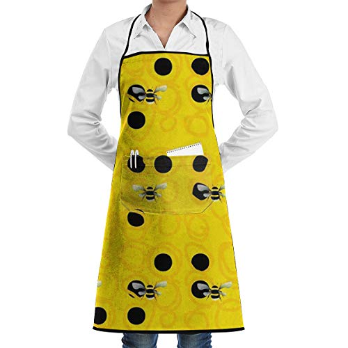 Bumble Bees Bib Apron with 2 Pockets and