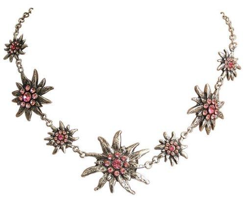 Trachtenschmuck Kette Dirndl Kristall Edelweiss Collier mit Swarovski Elements Kristallen in Light Rose und Rose rosa
