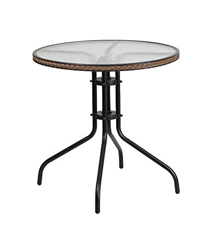 Flash Furniture 28'' Round Tempered Glass Metal Table with Dark Brown Rattan Edging (Table Bistro Glass)