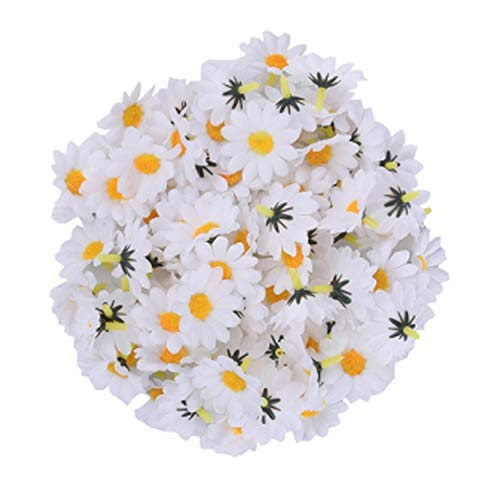 Daisy Balloons Gerbera (GSD2FF 100pcs/lot 9 Artificial Gerbera Daisy Head Home Wedding Bouquet Party Home Decoration,White)