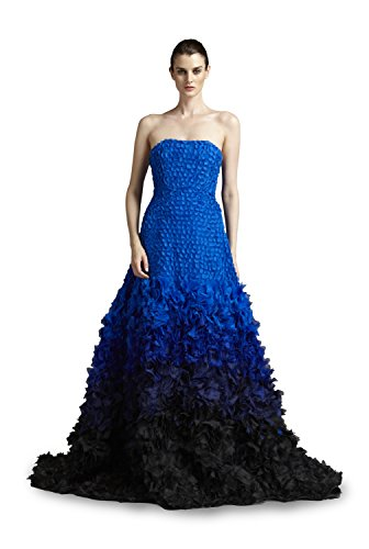 Fabiola Arias Women's Strapless Allover Petal Gown 14 Cobalt Blue to Black Ombre (Renta Gown Formal)