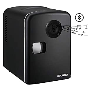 Gourmia GMF668 Thermoelectric Mini Fridge Cooler and Warmer – With Bluetooth Speaker – 4 Liter/6 Can – For Home, Office, Car, Dorm or Boat – Compact & Portable – AC & DC Power Cords – Black