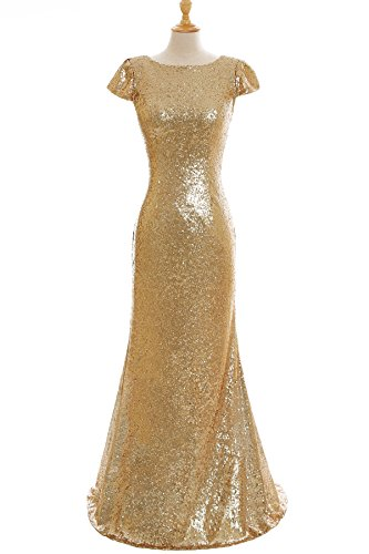 Open Back Mermaid Bridesmaid Dresses Sequins Wedding Party Gown Gold US6