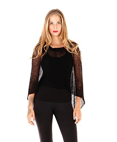 Shu-Shi Womens Sheer Poncho Shrug Lightweight Knit Black One Size Fits Most