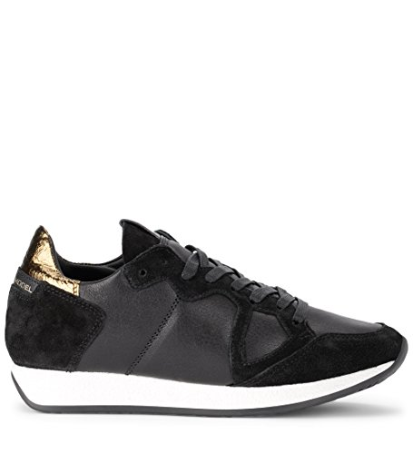 PHILIPPE MODEL Sneaker Black US Black Golden and 41 Woman's Leather 9½ Monaco EU rPrd7wW0q