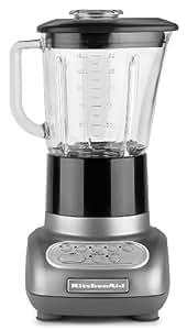 KitchenAid KSB565SM 5-Speed Blender with Glass Jar, Silver Metallic