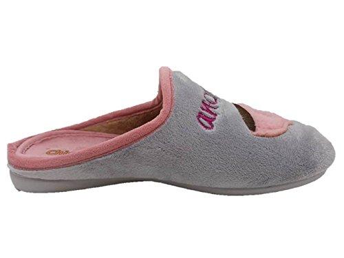 Chispas 431 - Zapatillas de estar por casa infantil niña adolescente gris rosa té