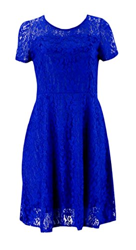 Stylish Dress Blue A Out Coolred Crewneck Sleeve Lace Party Midi Short Line Club Women Hollow pxOUR