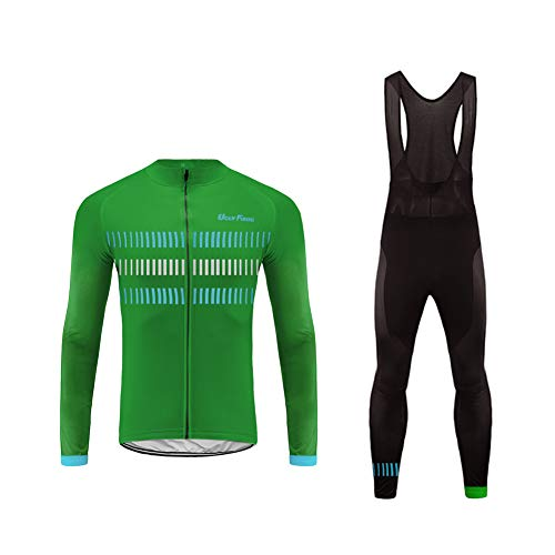 Uglyfrog Mountain Bike Jersey Men's Cycling Jacket for Men Biking Suit with Long Bib Pant Mesh Long Sleeve, Breathable, Comfortable, Quick Dry, MTB Road Cycle Bicycle Also for Outdoor Wear ()