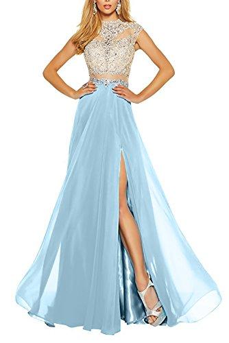 Charmant Sommerkleider Partykleider Damen Beliebt Hell Chiffon festlichkleider Taillefrei Lang Blau Abendkleider r7IRPwnrq