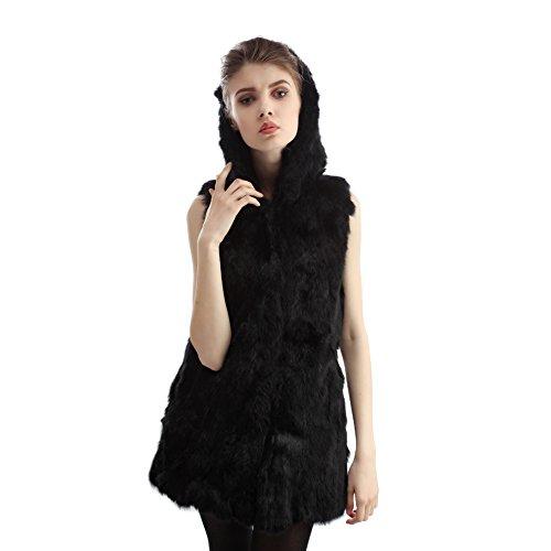 en en fourrure lapin Winter Gilet Warm v Gilet femme waRq7POq