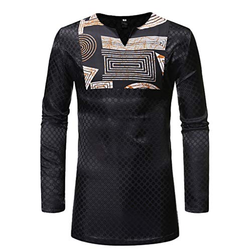 Cotton Shirts for Men African Vintage African Print Printed Long Sleeve V-Neck T-Shirt Top Blouse