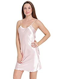 Aibrou Sexy Nightshirts Satin Spaghetti Strap Chemises Slip Nightgown Sleepwear