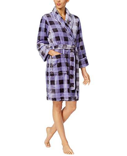 Charter Club Super Soft Wrap Robe (Lavender Buffalo Check, Small)