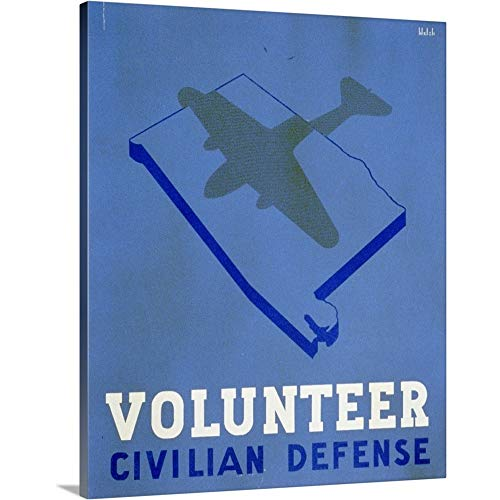 (Premium Thick-Wrap Canvas Wall Art Print Entitled Volunteer Civilian Defense - WPA Poster)