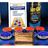 Large Size Table Shuffleboard Puck Weights + Powdered Wax + Talc Bag + Rule & Regulations Booklet