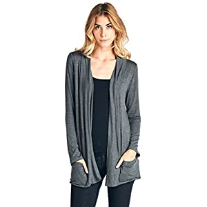 12 Ami Basic Long Sleeve Open Front Pocket Cardigan (S-2X) – Made in USA