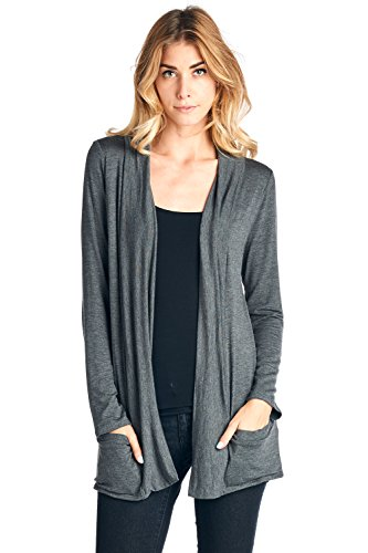 12 Ami Basic Long Sleeve Open Front Pocket Cardigan (S-2X) - Made in USA