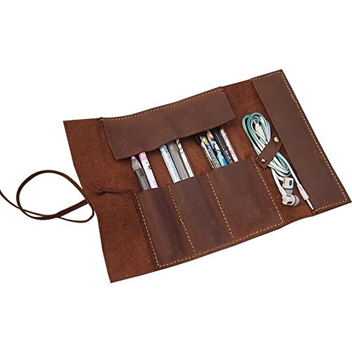 Handmade Genuine Leather Pen Case Pencil Holder Vintage Pen Pencil Roll Stationary Case Pouch for Office Uni College Students and Artists Perfect Gifts for Father/Boyfriend/Son SBD001 by TUYU (Image #3)