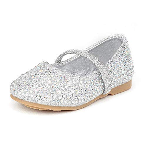 DREAM PAIRS MUY-Shine-INF Mary Jane Girls Rhinestone Studded Slip On Ballet Flats Toddler New Silver Size 6