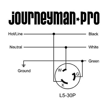 Black Industrial Grade Journeyman-Pro 2615 No Cover Included Locking Receptacle Socket 30A 125 Volt NEMA L5-30 Flanged Inlet Generator Plug Grounding 3750 Watts