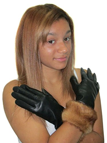 Cashmere Lined Black Lambskin Leather Gloves w/Whiskey Mink Trim 7 - Black Leather Mink