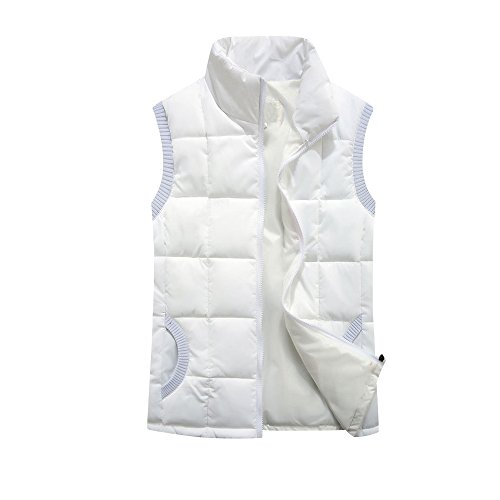 Quilted Jacket Gilet Vest Down White Lighweight Zip Sleeveless Neck Women ZUHqU