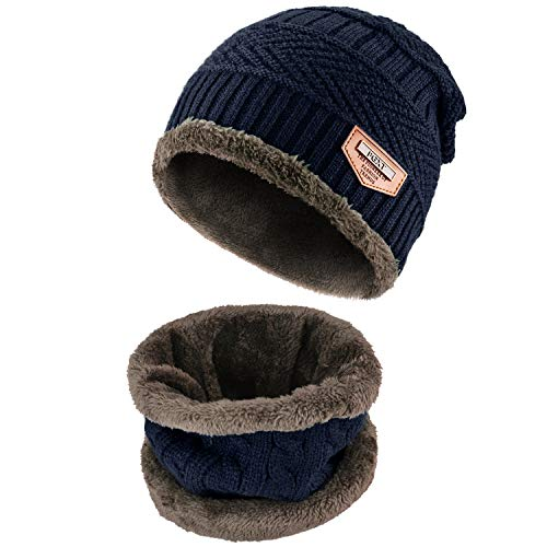 (PGXT Beanie Hat Scarf Set Winter Warm Fleece Lined Skull Cap and Scarf for Men Women (Dark Blue))