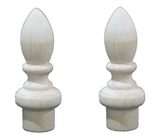 Pair of Wooden Lamp Finials 2-7/8'' Tall x 1'' Diameter 1/4-27 Female Metal Tapped Insert Ready for Stain by Lighthouse Industries