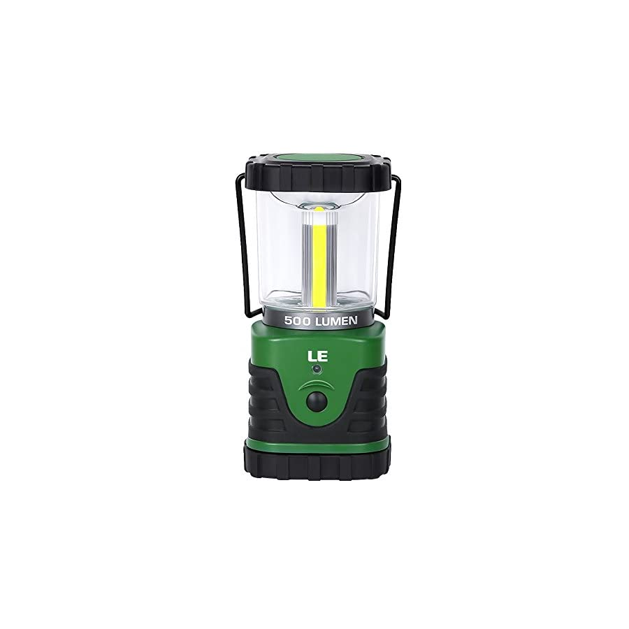 LE Portable LED Camping Lantern, 500lm, 3 Lighting Modes, Battery Powered Tent Light for Home, Garden, Outdoor, Hiking, Emergency and More