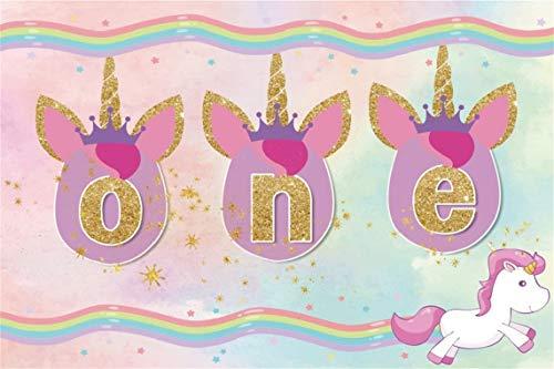 CSFOTO 7x5ft Background for Unicorn 1st Birthday Party Decor Photography Backdrop Unicorn Head One Year Old Golden Star Rainbow Celebration Child Kid Portrait Photo Studio Props Polyester Wallpaper