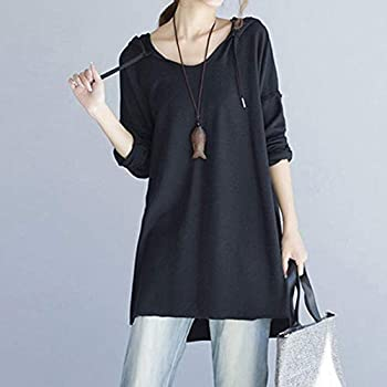 Farjing Women Casual Loose Long Sleeve Solid Sling Hooded Holiday Long Tops Shirt Blouse(s,black) 1