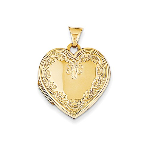 21mm Ornate Heart Locket in 14K Yellow (Ornate Locket)