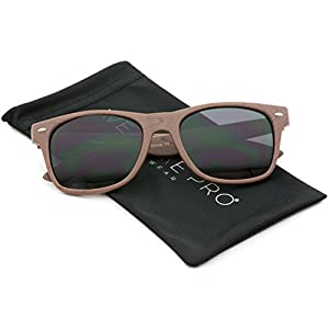 Faux Wood Reflective Revo Color Lens Horn Rimmed Sunglasses (Black Wood Print / Black Lens, 51)