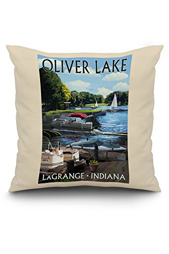 - LaGrange, Indiana - Oliver Lake - Pontoon Boats (20x20 Spun Polyester Pillow, White Border)