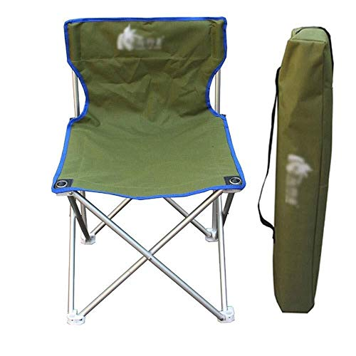 Zichen Aluminum Outdoor Folding Chair, Large Portable Camping Chair, with Backrest | Carrying Bag, Oxford Fabric, Red | Green, Suitable for Leisure Time | Camping | Fishing | Beach (Color : Verde) ()