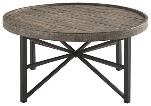 (Ashley Furniture Signature Design - Cazentine Contemporary Rustic Round Cocktail Table - Distressed Top - Grayish Brown / Black)