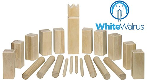 White Walrus Professional Kubb Game - Official USA National Kubb Tournament Size by Games - FREE Carrying Case Included! by White Walrus