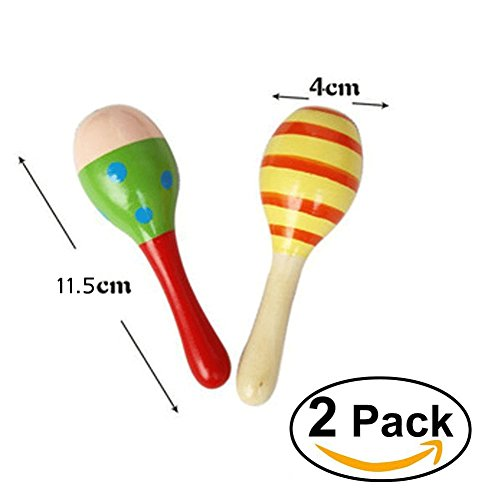 OPOCC Mini Maracas Egg handbell sand hammer Toys wooden Maracas Rattle Shakers Musical Educational, Kids Toddler Learning Fun Musical Toys-2 Pcs (Random Color Pattern)