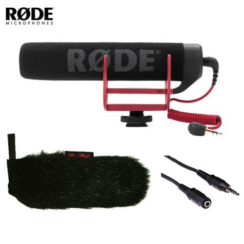 Rode VideoMic GO On-Camera Shotgun Microphone and WindTech MM-29 Mic-Muff with 3' Stereo Mini Male to Stereo Mini Female Extension Cable by Rode