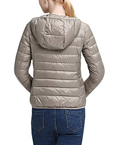 Cappotto Zip Cachi Leggero Packable Delle Jacket Donne Inverno Gladiolusa Incappucciati Full Di OwB0UU