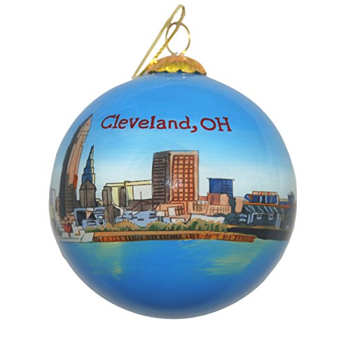 Hand Painted Glass Christmas Ornament - Cleveland, Ohio Skyline