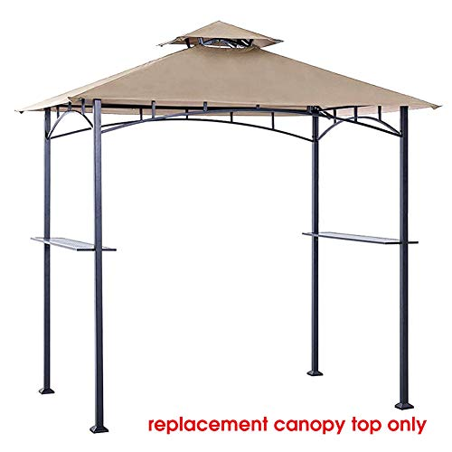 Eurmax 5FT x 8FT Double Tiered Replacement Canopy Grill BBQ Gazebo Roof Top Gazebo Replacement Canopy Roof(Beige) (Gazebo Patio Walmart)